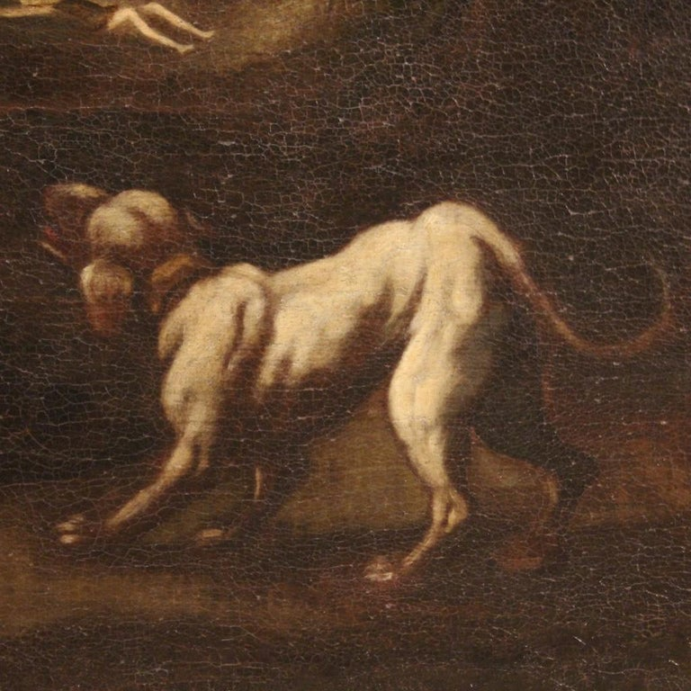 18th Century Oil on Canvas Italian Antique Mythological Painting, 1770 For Sale 5