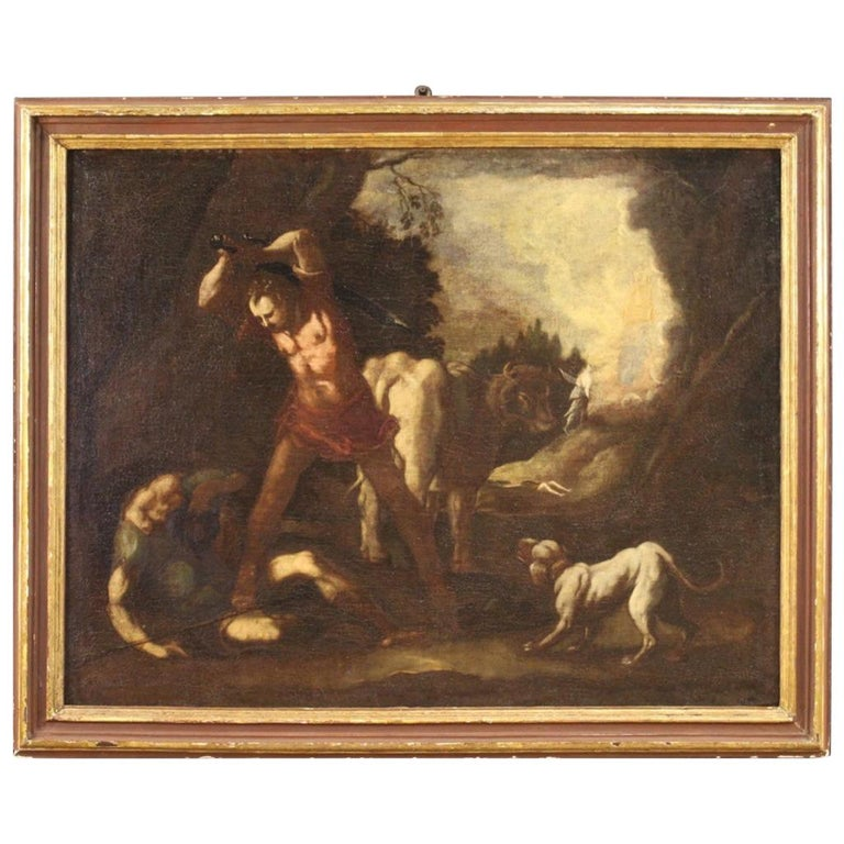18th Century Oil on Canvas Italian Antique Mythological Painting, 1770 For Sale