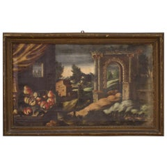 18th Century Oil on Canvas Italian Antique Painting Landscape with Still Life