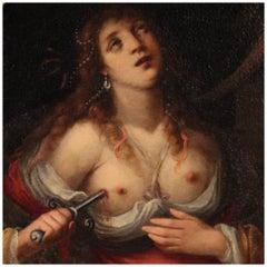 18th Century Oil on Canvas Italian Antique Painting Suicide of Lucretia, 1770