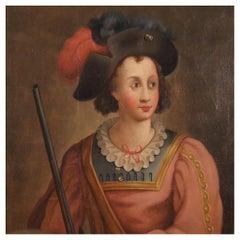 18th Century Oil on Canvas Italian Antique Portrait Painting, 1780