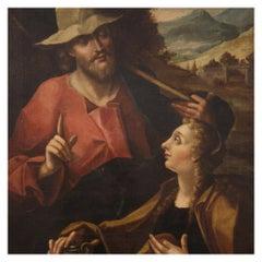 18th Century Oil on Canvas Italian Antique Religious Painting, 1750