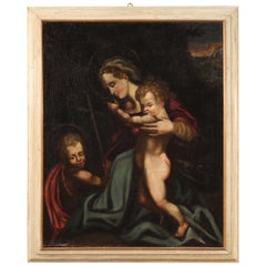 18th Century Oil on Canvas Italian Antique Religious Painting, 1780