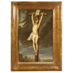 18th Century Oil on Canvas Italian Antique Religious Painting Crucifixion, 1780