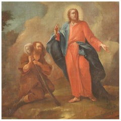 18th Century Oil on Canvas Italian Antique Religious Painting Jesus and Shepherd