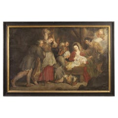 18th Century Oil on Canvas Italian Antique Religious Painting Nativity, 1770