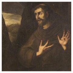 18th Century Oil on Canvas Italian Antique Religious Painting Saint Francis