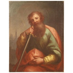 18th Century Oil on Canvas Italian Antique Religious Painting Saint Paul, 1730