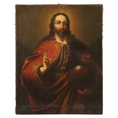 18th Century Oil on Canvas Italian Antique Religious Painting Salvator Mundi