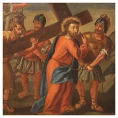 18th Century Oil on Canvas Italian Antique Religious Painting Way of the Cross