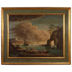 18th Century Oil on Canvas Italian Antique Seascape Painting, 1780