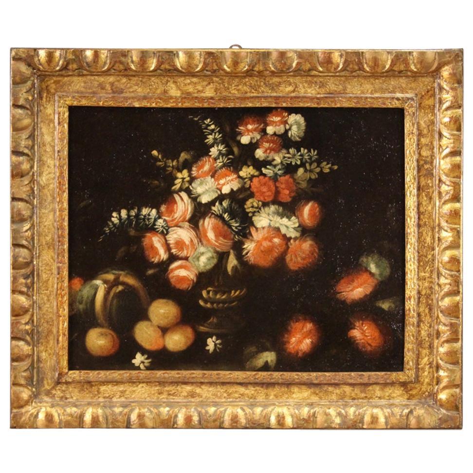 18th Century Oil on Canvas Italian Antique Still Life Painting, 1730