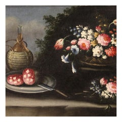 18th Century Oil on Canvas Italian Antique Still Life Painting, 1750