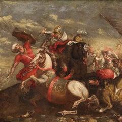 18th Century Oil on Canvas Italian Battle Antique Painting, 1750