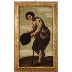 18th Century Oil on Canvas Italian Beggar Painting, 1780