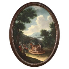 18th Century Oil on Canvas Italian Biblical Painting Joseph at the Well, 1721