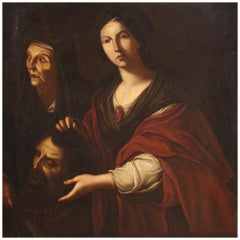 18th Century Oil on Canvas Italian Biblical Painting Judith and Holofernes, 1720