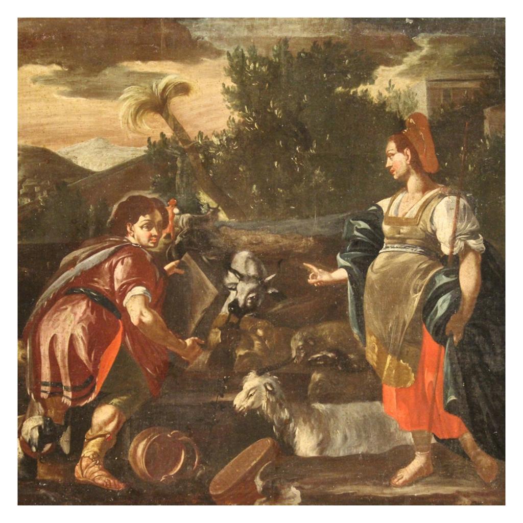 18th Century Oil on Canvas Italian Biblical Painting Rachel and Jacob, 1720