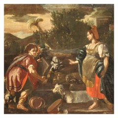 18th Century Oil on Canvas Italian Biblical Painting Rachel and Jacob, 1720