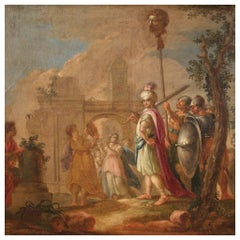 18th Century Oil on Canvas Italian Biblical Painting The Triumph of David, 1760
