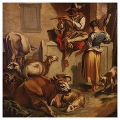 18th Century Oil on Canvas Italian Bucolic Scene Painting, 1770