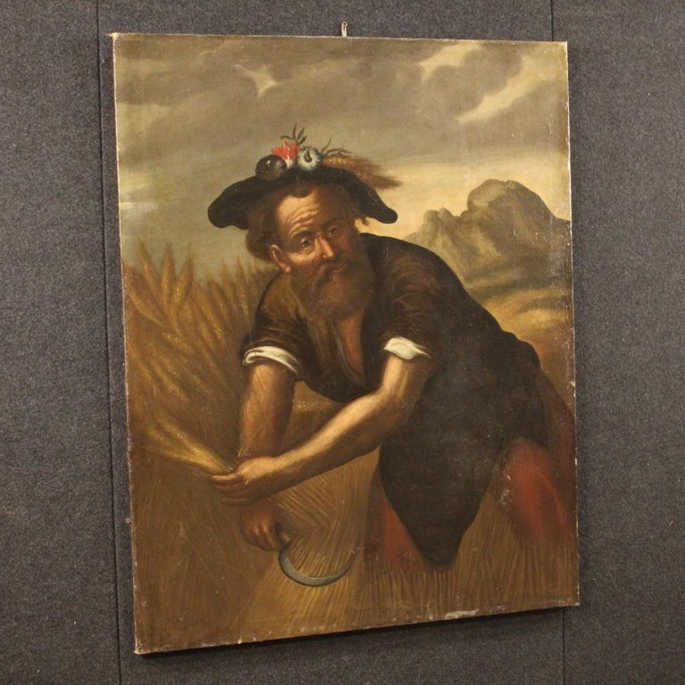 18th Century Oil on Canvas Italian Character Painting, 1780 For Sale 5