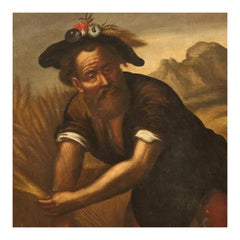 18th Century Oil on Canvas Italian Character Painting, 1780