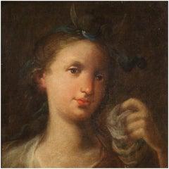 18th Century Oil on Canvas Italian Diana Portrait Painting, 1780