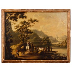 18th Century Oil on Canvas Italian Landscape with Characters Painting, 1780