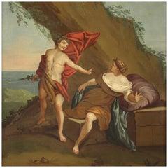 18th Century Oil on Canvas Italian Mythological Painting Bacchus and Ariadne