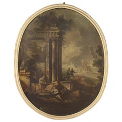 18th Century Oil on Canvas Italian Oval Landscape Painting, 1780