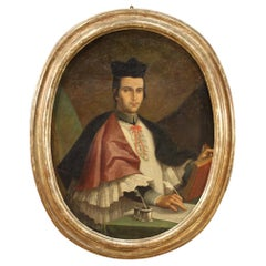 18th Century Oil on Canvas Italian Oval Painting Portrait of a Bishop, 1730