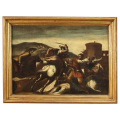 18th Century Oil on Canvas Italian Painting Battle with Knights, 1750