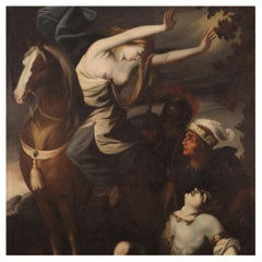 18th Century Oil on Canvas Italian Painting Erminia Finds Wounded Tancredi