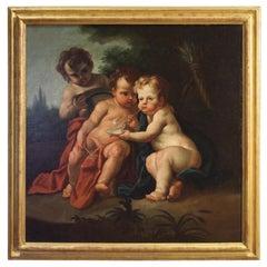 18th Century Oil on Canvas Italian Painting Game of Cherubs, 1770