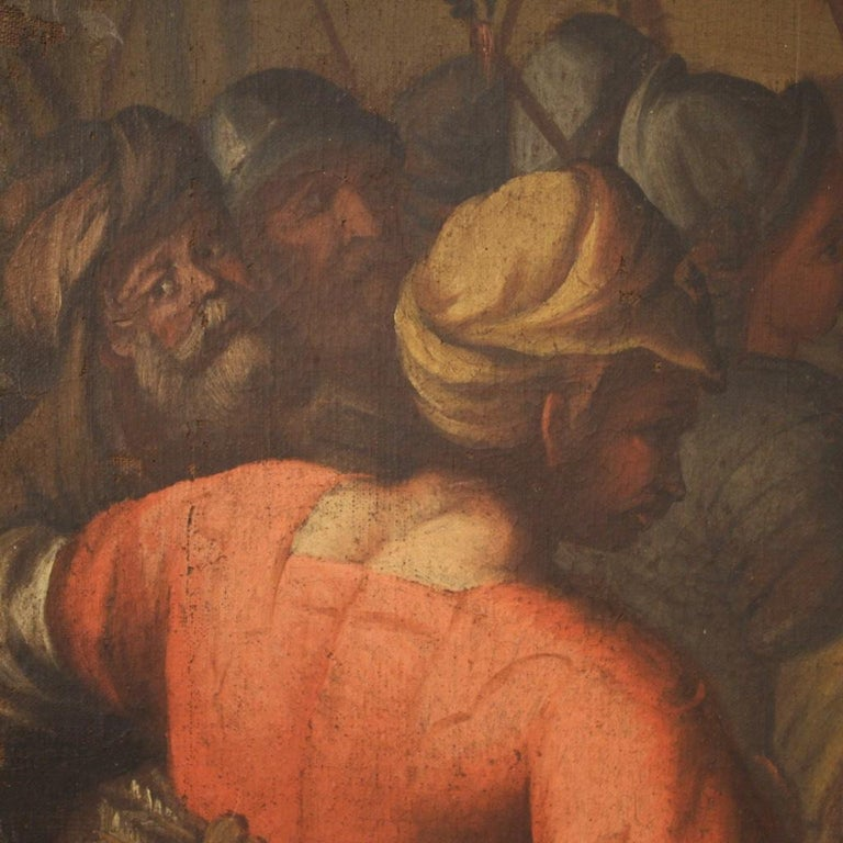 18th Century Oil on Canvas Italian Painting Historical / Biblical Subject, 1720 For Sale 6
