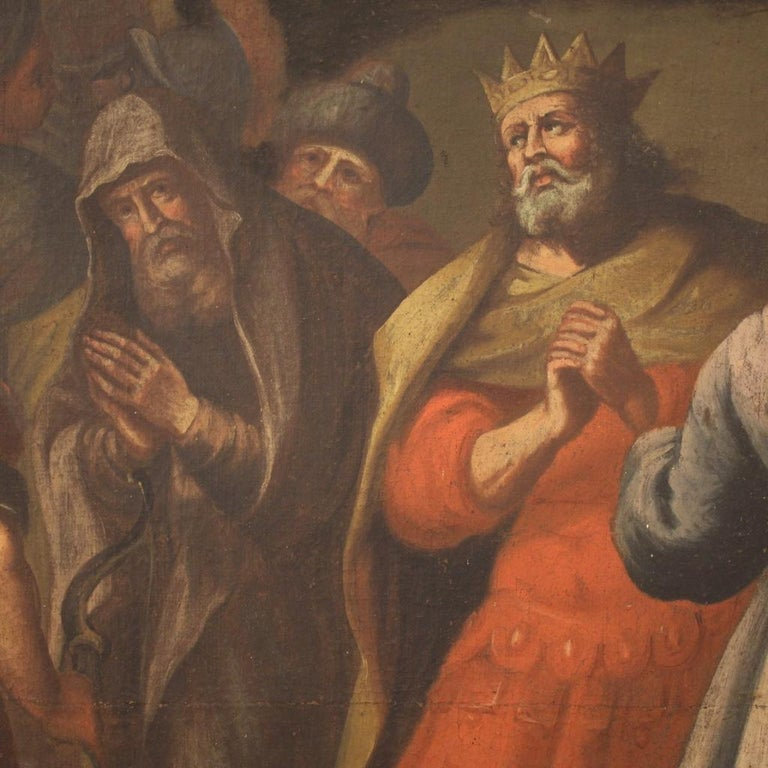 18th Century Oil on Canvas Italian Painting Historical / Biblical Subject, 1720 For Sale 8
