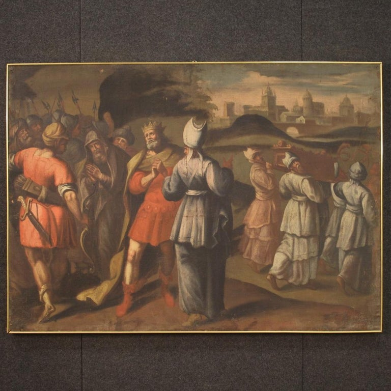 Ancient Italian painting from the first half of the 18th century. Framework oil on canvas, on the first canvas, depicting a historical / biblical subject (under study) with kings, warriors, priests and city in the background. Painting of great