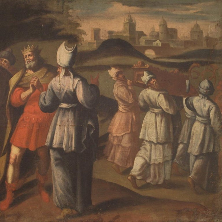 18th Century Oil on Canvas Italian Painting Historical / Biblical Subject, 1720 For Sale 2