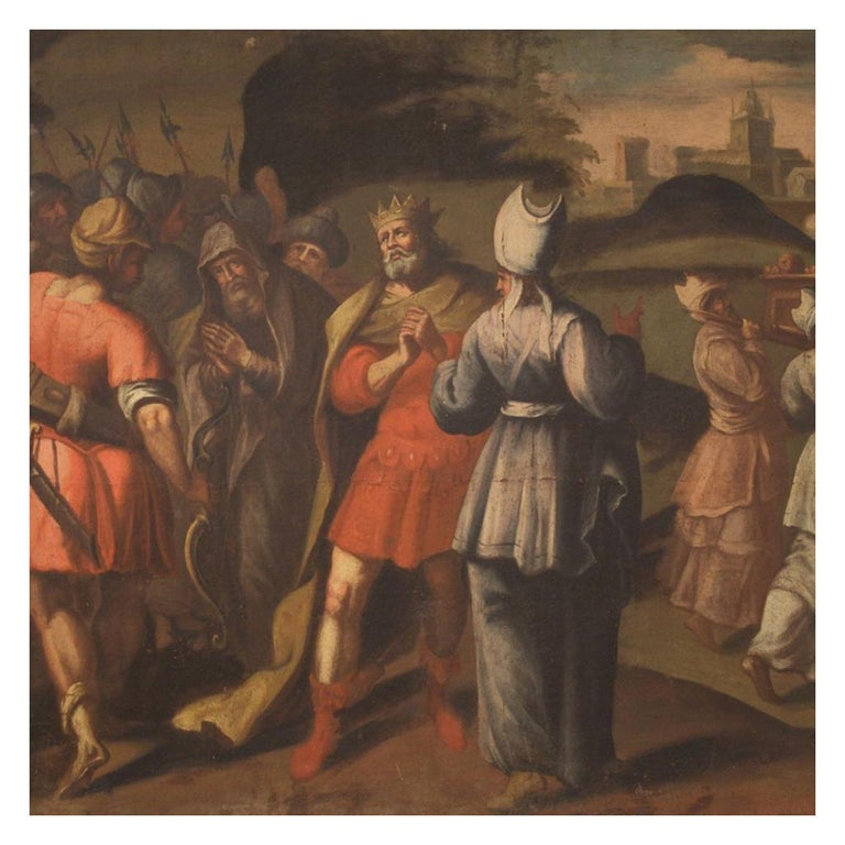 18th Century Oil on Canvas Italian Painting Historical / Biblical Subject, 1720 For Sale