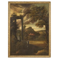 18th Century Oil on Canvas Italian Painting Landscape with Architectures, 1750