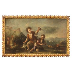 18th Century Oil on Canvas Italian Painting Landscape with Children, 1730