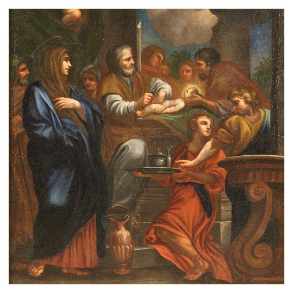 18th Century Oil on Canvas Italian Painting Presentation of Jesus in the Temple