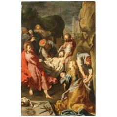 18th Century Oil on Canvas Italian Painting The Entombment of Christ, 1730