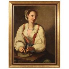 18th Century Oil on Canvas Italian Portrait Painting, 1780