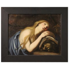 18th Century Oil on Canvas Italian Religious Magdalene Painting, 1780
