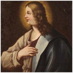 18th Century Oil on Canvas Italian Religious Painting Bust of a Saint, 1770