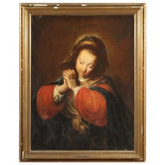 18th Century Oil on Canvas Italian Religious Painting Depicting Virgin, 1700
