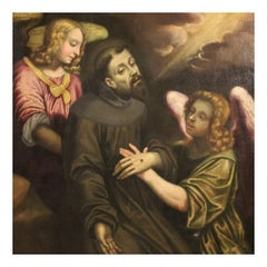 18th Century Oil on Canvas Italian Religious Painting Ecstasy of Saint Francis