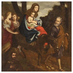 18th Century Oil on Canvas Italian Religious Painting Flight into Egypt, 1740